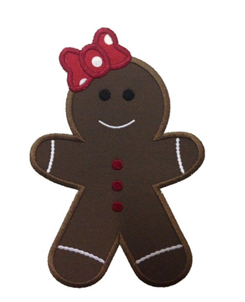 Applique Gingerbread Girl Machine Embroidery Design
