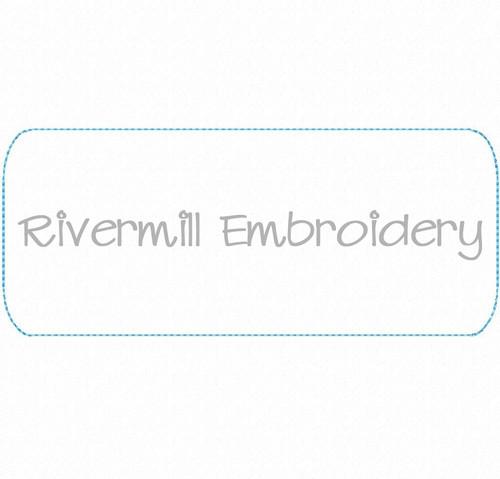 Raggy Applique Rectangle Name Tag Frame Machine Embroidery Design