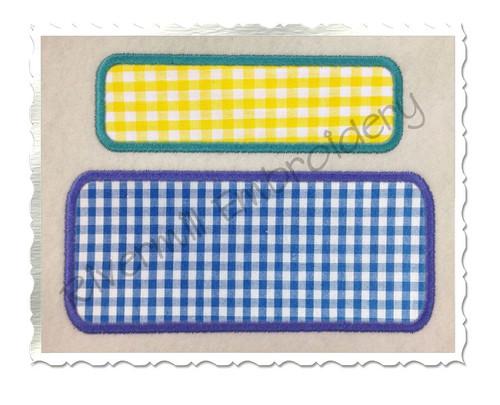 Applique Rectangle Name Tag Frame Machine Embroidery Design