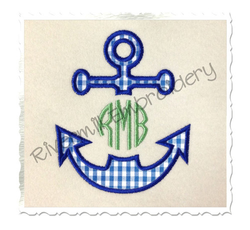 Applique Anchor Monogram Frame Machine Embroidery Design