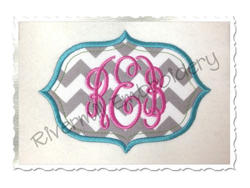 Applique Name or Monogram Frame Machine Embroidery Design (#2)