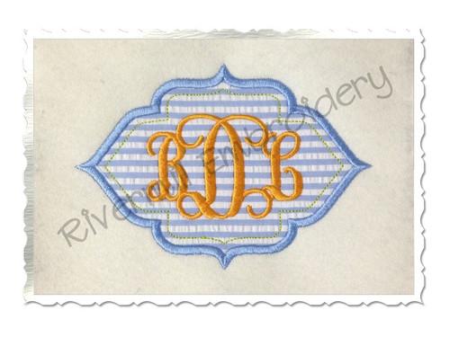 Applique Name or Monogram Frame Machine Embroidery Design (#5)