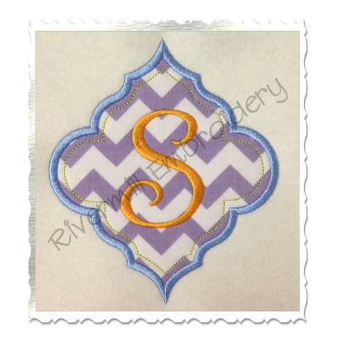 Applique Name or Monogram Frame Machine Embroidery Design (#6)