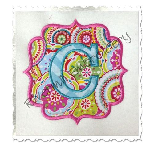 Applique Name or Monogram Frame Machine Embroidery Design (#7)