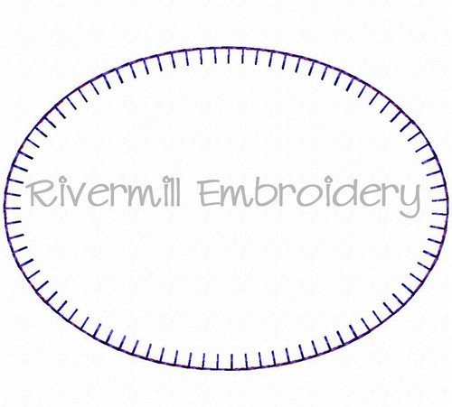 Oval Blanket Stitch Applique Frame Machine Embroidery Design