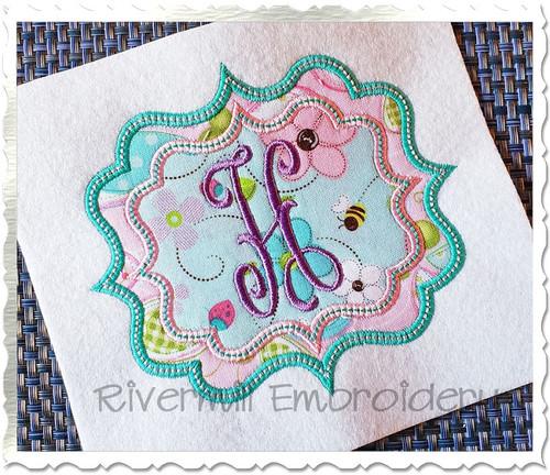 Double Applique Name or Monogram Frame Machine Embroidery Design (#12)