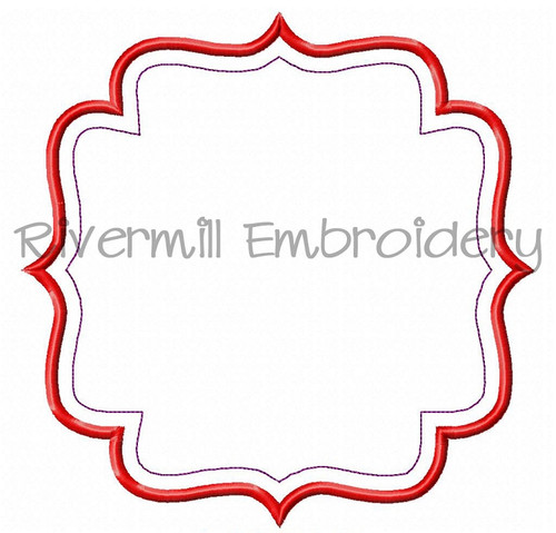 Large Applique Name or Monogram Frame Machine Embroidery Design (#7)