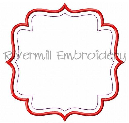 Large Applique Name or Monogram Frame Machine Embroidery Design (#7)