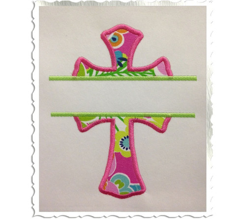 Applique Split Cross Machine Embroidery Design