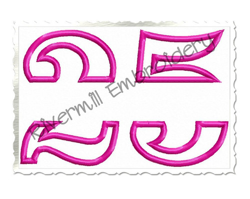 Split Applique Number 25 Machine Embroidery Design