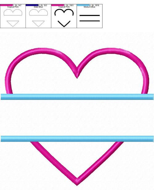 Applique Split Heart Machine Embroidery Design