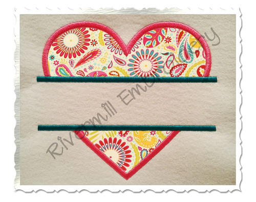 Applique Split Heart Machine Embroidery Design