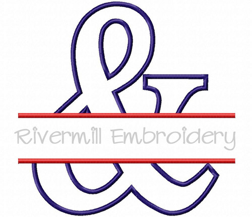 Large Split Applique Ampersand Machine Embroidery Design