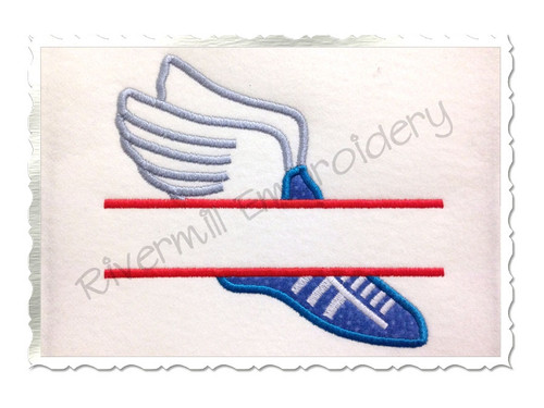 Split Applique Track Shoe Machine Embroidery Design