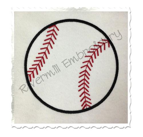 Applique Baseball or Softball Machine Embroidery Design