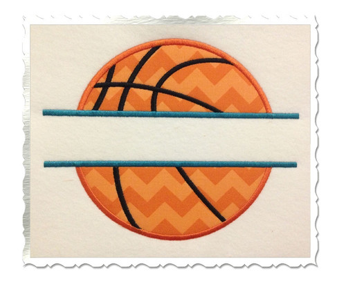 Applique Split Basketball Machine Embroidery Design