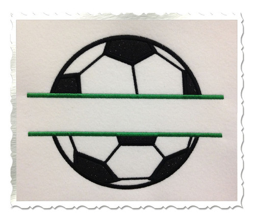 Applique Split Soccer Ball Machine Embroidery Design