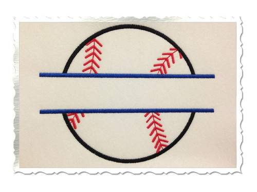 Applique Split Baseball or Softball Machine Embroidery Design