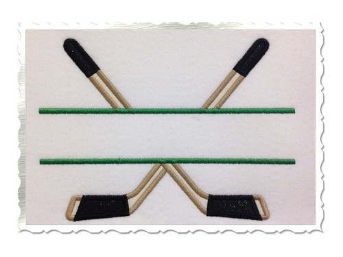 Applique Split Hockey Sticks Machine Embroidery Design