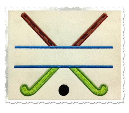 Applique Split Field Hockey Sticks Machine Embroidery Design