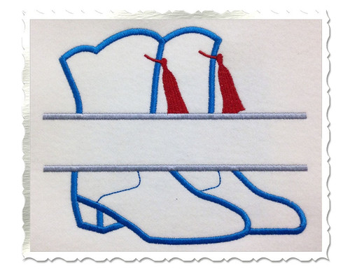 Applique Split Drill Team Boots Machine Embroidery Design