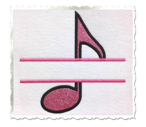 Applique Split Music Note Machine Embroidery Design
