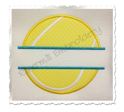 Split Tennis Ball Applique Machine Embroidery Design