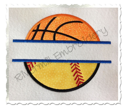 Split Applique Ball Half Basketball Half Baseball or Softball Machine Embroidery Design