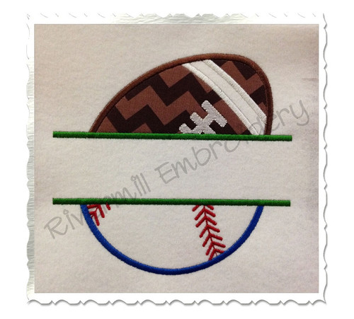 Split Applique Ball Half Football Half Baseball or Softball Machine Embroidery Design