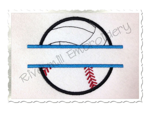 Split Applique Ball Half Volleyball Half Baseball or Softball Machine Embroidery Design