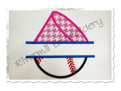 Split Applique Half Megaphone Half Baseball or Softball Machine Embroidery Design