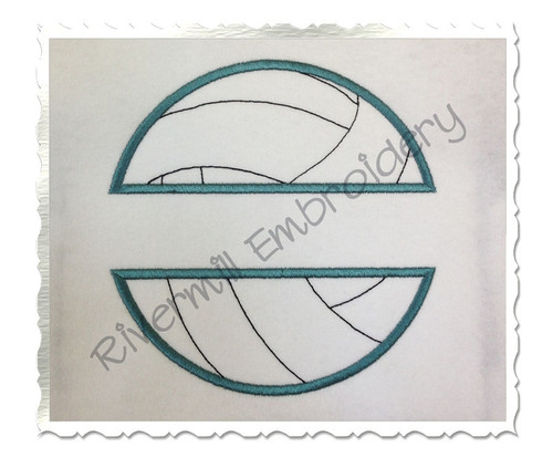 Applique Split Volleyball Machine Embroidery Design (Version 2)