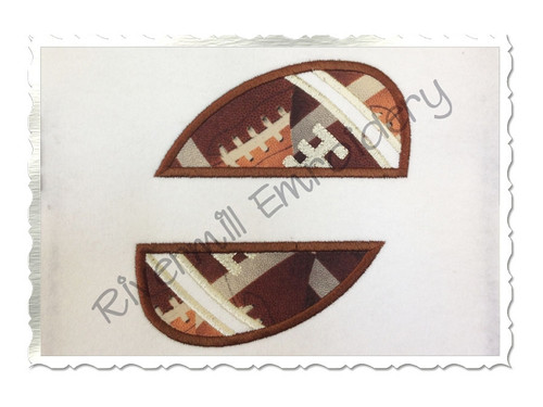 Applique Split Football Machine Embroidery Design (Version 2)