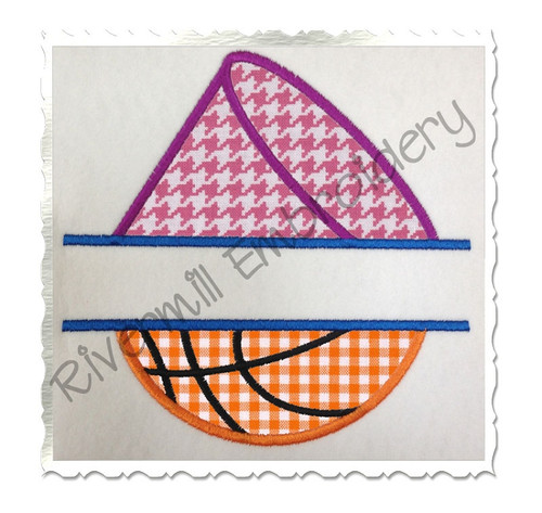 Split Applique Half Megaphone Half Basketball Machine Embroidery Design