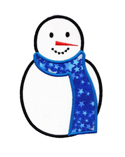 Applique Snowman Machine Embroidery Design