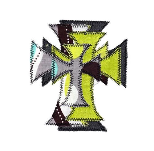 Zig Zag Stacked Crosses Applique Machine Embroidery Design