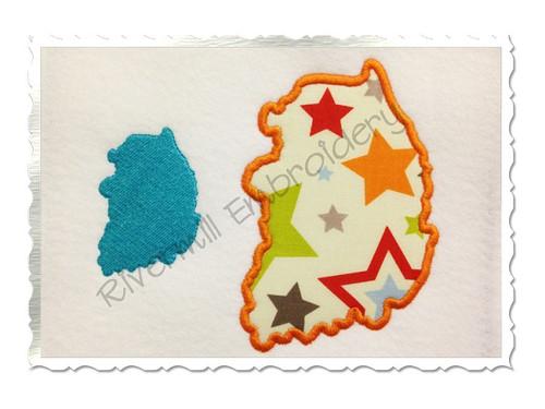 Applique & Fill Korea Outline Machine Embroidery Design