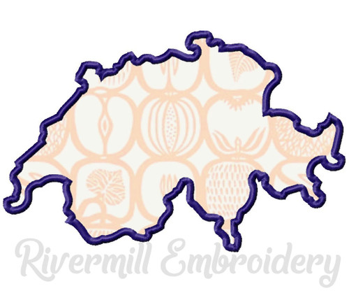 Applique Switzerland Outline Machine Embroidery Design