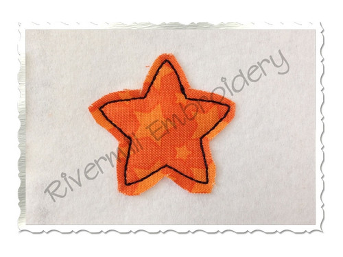 Small Raggy Applique Star Machine Embroidery Design
