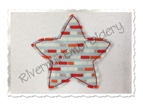 Raggy Applique Star Machine Embroidery Design