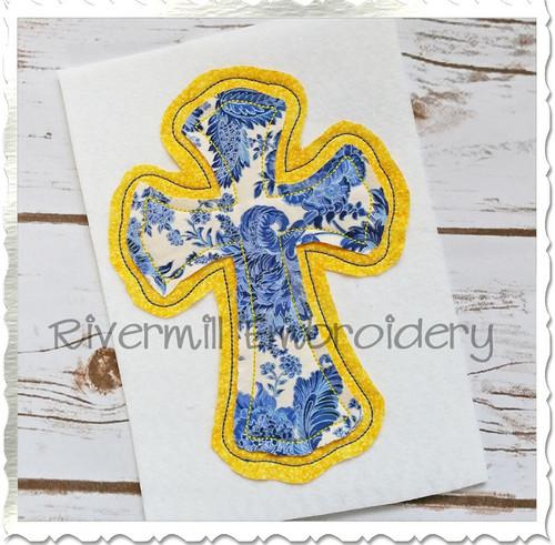 Raggy Double Applique Cross Machine Embroidery Design