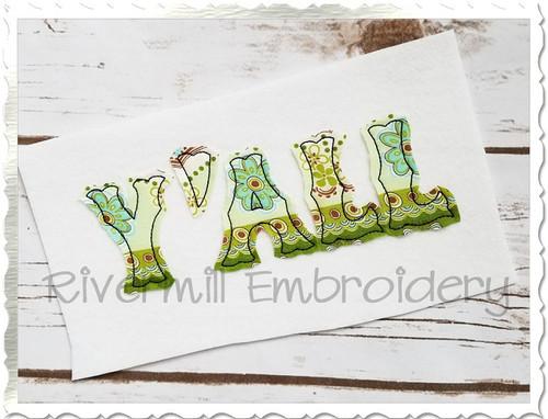 Raggy Applique Y'ALL Machine Embroidery Design