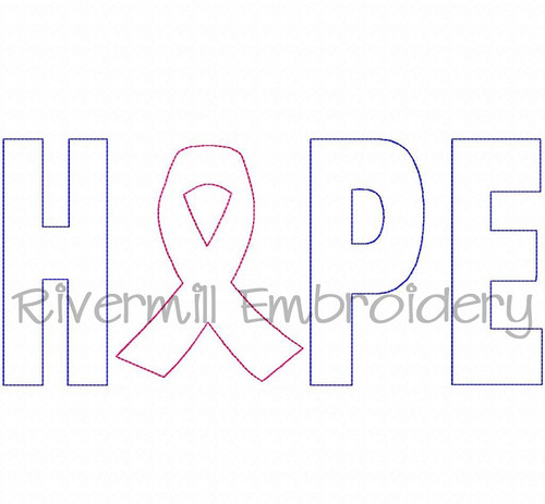 Raggy Applique Hope w/ Breast Cancer Ribbon Machine Embroidery Design