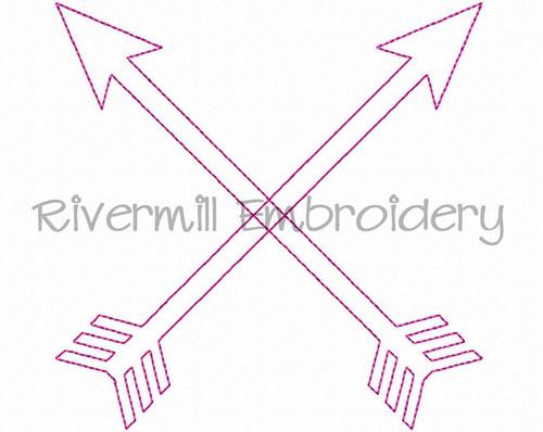 Raggy Applique Crossed Arrows Machine Embroidery Design
