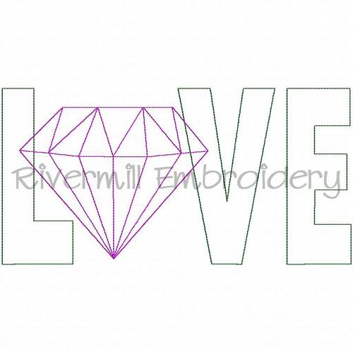 Raggy Applique Diamond Love Machine Embroidery Design