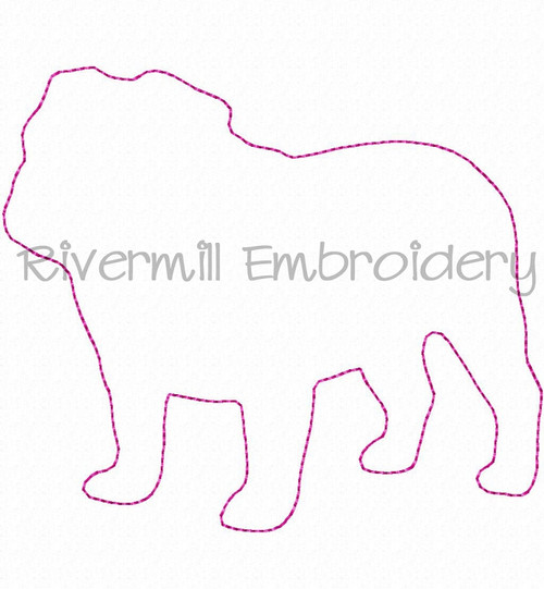 Raggy Applique Bulldog Machine Embroidery Design