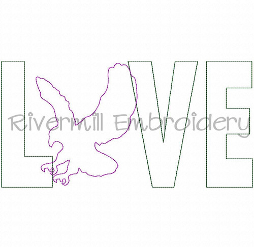 Raggy Applique Eagle Love Machine Embroidery Design