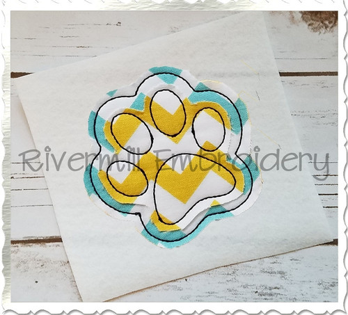 Raggy Double Applique Paw Print Machine Embroidery Design