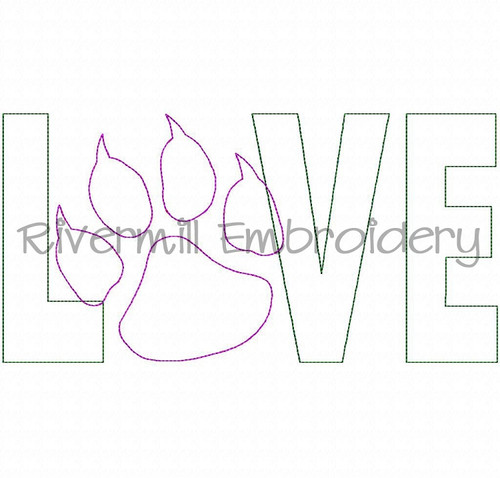 Raggy Applique Paw Print With Claws Love Machine Embroidery Design