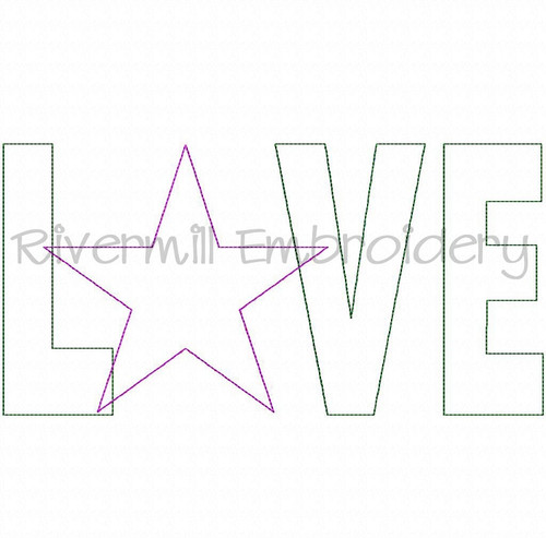 Raggy Applique Love With A Star Machine Embroidery Design